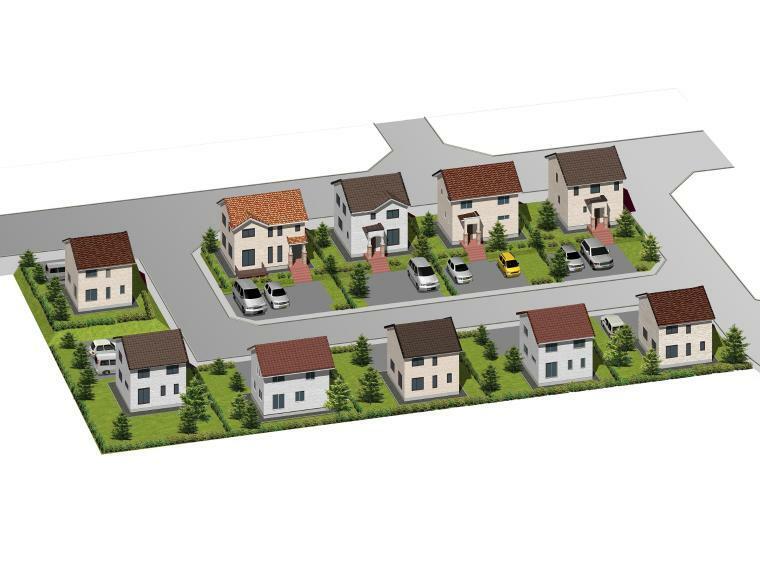 完成予想図(外観) 完成予定の街並み。明るい外壁と三角屋根で統一され、明るい印象のプチニュータウンが完成予定。全棟の日当たりを考慮した配置計画済みです。