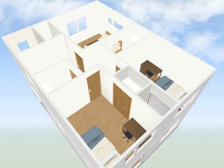 間取り図 【2階俯瞰イメージパース】 2階ホールにはファミリークロークがあるので、季節のものや、家族の荷物を整理するのに便利です。2階各居室収納付きです。