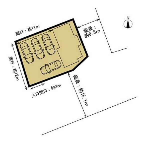 区画図 敷地図です。駐車場は4台に拡張予定です。入口の間口は約3mと狭くなりますが、敷地内は奥行約12m×幅約11mと広さが確保されています。駐車場が多いと嬉しいですね。