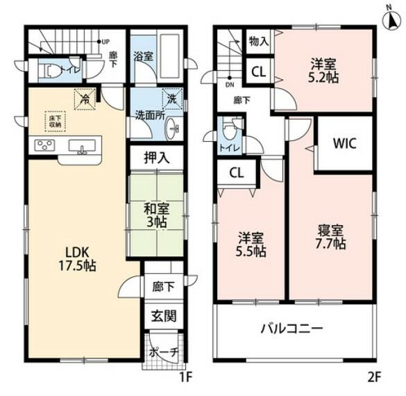 間取り図 各居室の収納スペースの他に床下収納もあり、食品のストックから衣類や本、趣味の道具など様々な物がすっきり片付きそうですね。