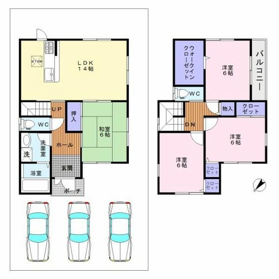 間取り図 土地38.78坪・駐車3台可・全居室収納付きの4LDK・南西横側は空いており日当たり良好