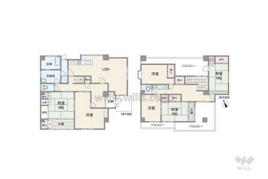 間取り図 間取りは延べ床面積177.46平米の6LDK。水回りが1カ所に集まり家事動線の優れたプラン。2階にも洗面所があり朝の忙しい時間にも便利。1階和室は庭に面していて広縁でゆっくりくつろげます。