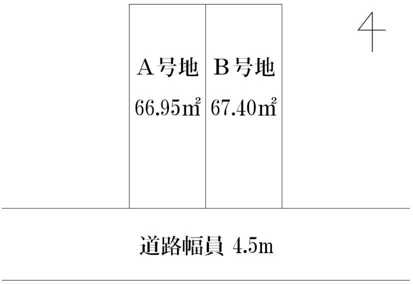 区画図 A号地・B号地の計2区画分譲中です。気になることなどございましたらお気軽にお問い合わせください。