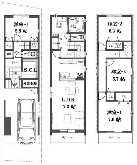 間取り図 A号地の間取図です。価格3880万円、4LDK、土地面積66.95m2、建物面積115.70m2
