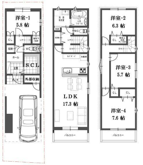 間取り図 B号地の間取図です。価格3980万円、4LDK、土地面積67.4m2、建物面積115.70m2