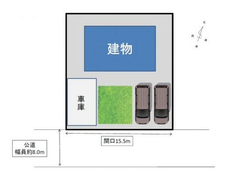 区画図 【敷地図】並列駐車3台。南向き道路付けで陽当たりも良好・間口も約15.5mと広いです。