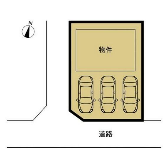 区画図 【区画図】駐車場の拡張工事を行い、普通車並列3台駐車可能な駐車スペースを造成致します。