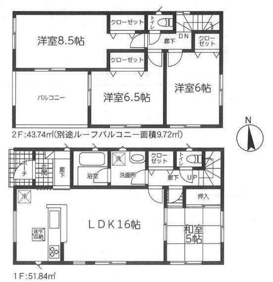 間取り図 【1号棟間取り図】4LDK 建物面積95.58平米(28.96坪)