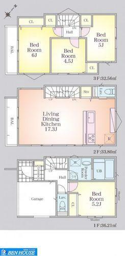 間取り図 間取図(4号棟)・2階部分を占有する広々ゆったりLDK・対面キッチンでリビングを伺いながらお料理できます・リビングイン階段でご家族のお出かけ時や帰宅時にコミュニケーションの取りやすいプラン