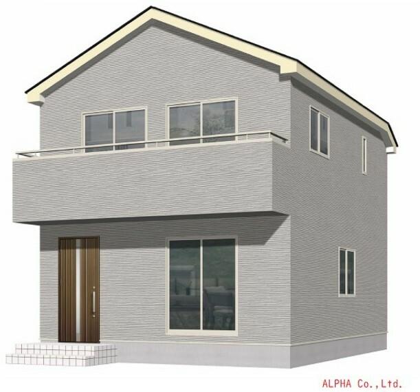 完成予想図(外観) 白を基調とした清潔感溢れるお住まいが完成です。シンプルなデザインが街並みに溶け込みます。是非お問い合わせ下さい。