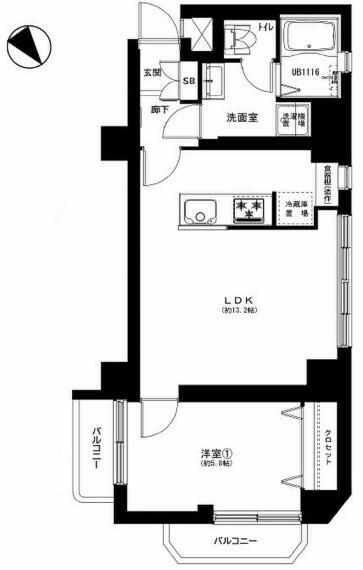 間取り図 1~2人住まいにおすすめの広さ。ペット飼育可能です(細則あり)