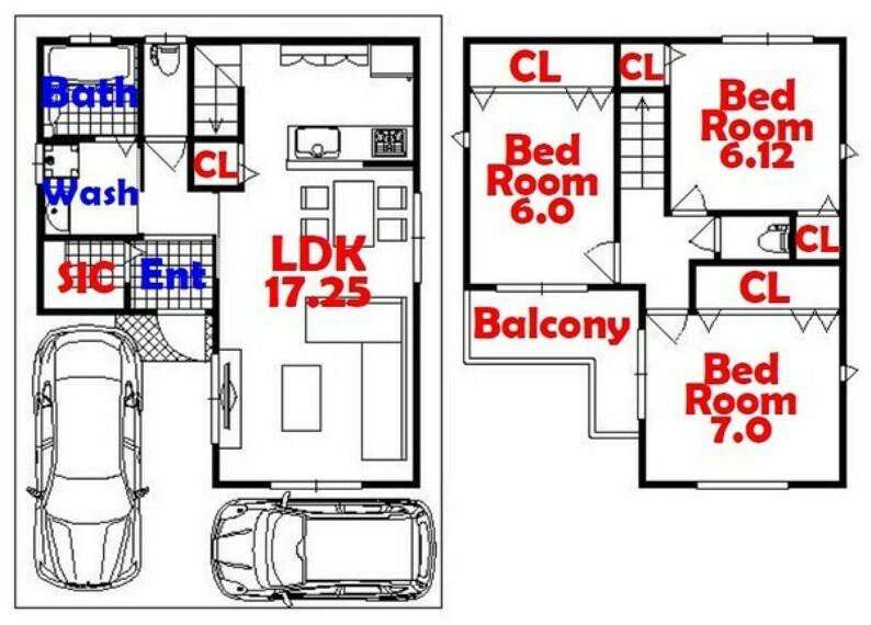 間取り図 4SLDK/車2台/シューズインクローゼット/全居室収納/リビング収納
