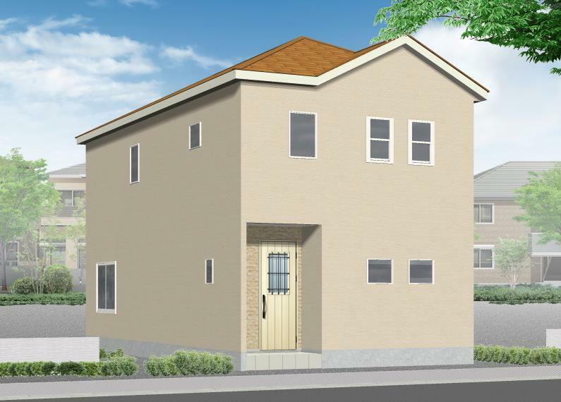 完成予想図(外観) 3号棟完成イメージ おしゃれなデザイナーズ住宅!ウォークインクローゼット付きの間取りです。