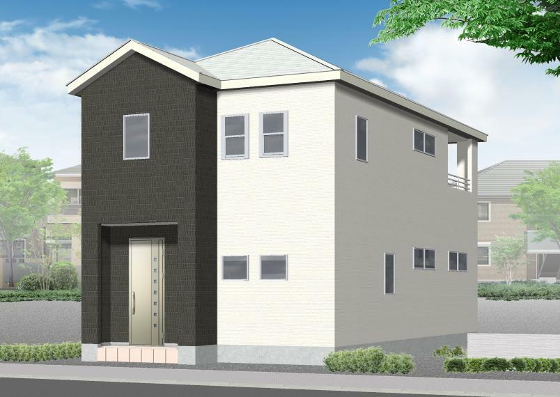 完成予想図(外観) 4号棟完成イメージ シンプルでスタイリッシュな外観!快適なオール電化住宅です。