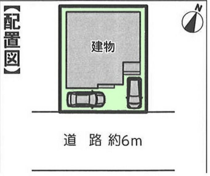 区画図 1棟現場 前面道路広々です。