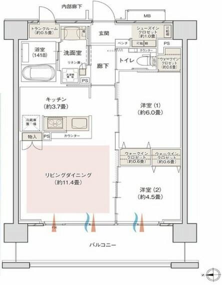 間取り図 西向きで日当たりの良い2LDKです。全居室収納スペース付きでお部屋を広くお使いいただけます。。