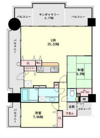 間取り図 リゾート感覚を満喫!広々としたLDKを擁する北西角部屋!専有面積82平米!
