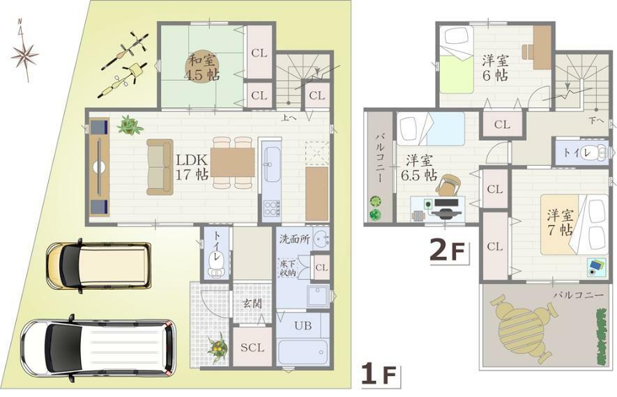 間取り図 参考プランとしてお車の2台駐車が可能な和室を備えた4LDKをご提案。