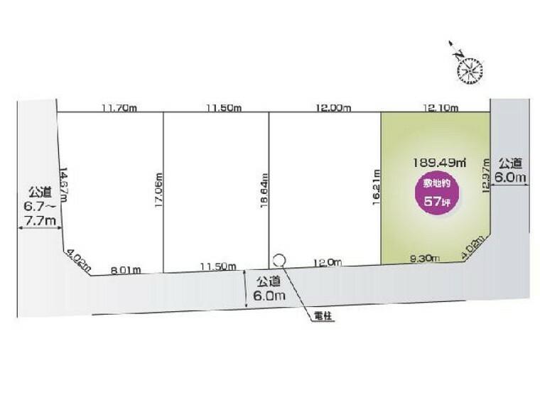 区画図 松原3丁目 D区画 区画図・・・D区画は南東角地で、南側の前面道路は6.0mあり日当たりが良い場所になります。東側の道路も6.0m接道しています。