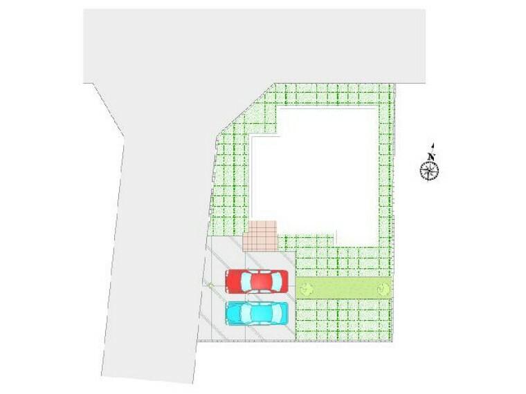 区画図 西城南4丁目 区画図・・・並列駐車2台可能!ポストには人気の「宅配BOX」付きなので、非対面かつ不在時の郵便物受け取りもラクラク!