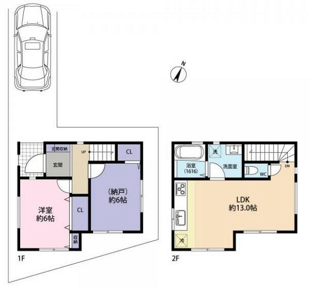 (参考プラン)2階リビング1SLDKタイプ。建物価格1350万円(税込)。2LDK感覚でお住まい頂くこが可能です。