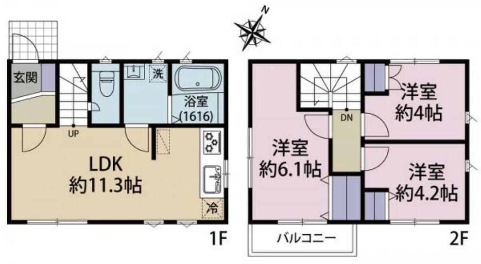 (参考プラン)1階リビング3LDKタイプ。建物価格1320万円(税込)。2階に3部屋で、お子様のいるご家庭にもオススメのプラン。