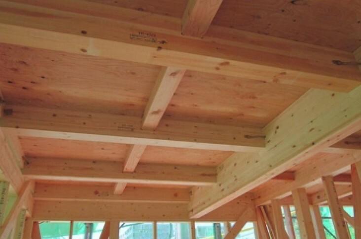 構造・工法・仕様 これは構造用面材を土台と梁に直接留めつける工法で、床をひとつの面として家全体を一体化することで、 横からの力にも非常に強い構造となります。家屋のねじれを防止し、耐震性に優れた効果を発揮します。