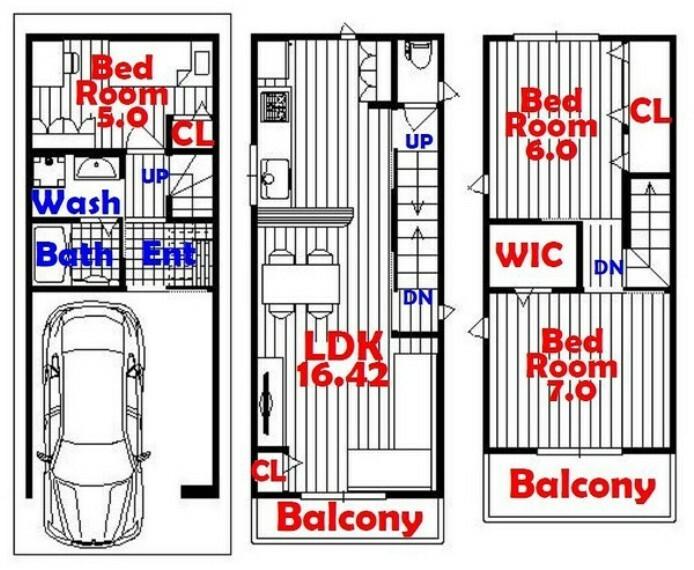 間取り図 3SLDK/ウォークインクローゼット/リビング収納/全居室収納/カウンター風キッチン