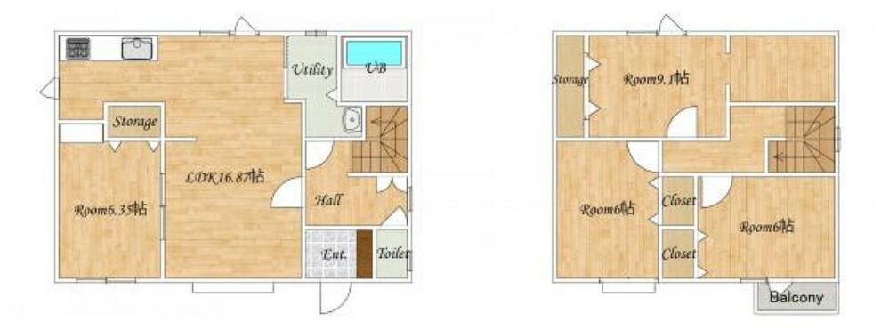間取り図 [リフォーム後_間取図予定]1階和室を洋室へ変更いたします。2階の和室も洋室へ変更します。各部屋収納が充実している4sLDK住宅です。