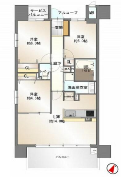 間取り図 中古マンション 3LDK 専有面積:66.52平米(壁芯) バルコニー面積:12.2平米 南東向き