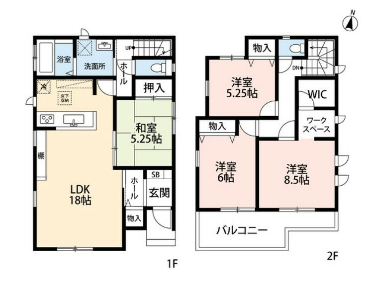 間取り図 リビング隣には、ホッとできる和室を用意。お子様のお昼寝スペースや書斎としてなど、いろいろとお使い頂けます。