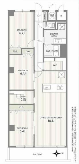 間取り図 LDK18.1帖/洋室6.4帖/洋室6.7帖/DEN2.5帖/洗面/浴室/トイレ/バルコニー