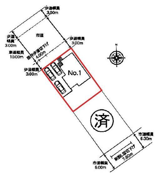 区画図 【1号棟区画図】土地面積202.87平米(61.36坪)