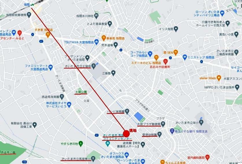 区画図 JR川越線「指扇」駅南口徒歩21分! 小学校まで徒歩7分、中学校まで徒歩10分、生活施設も徒歩圏内に整った子育てに優しいライフエリアです。