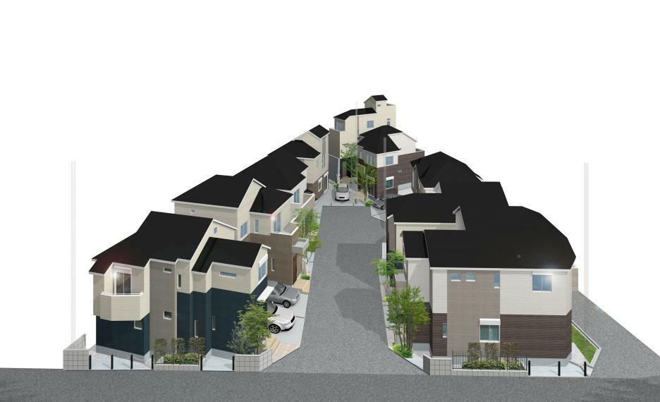 完成予想図(外観) 建物外観完成予想CG 全9邸の街並みで、新たなコミュニティを育みます。 分譲地内は、通り抜けできない設計のため、居住者以外の出入りが少なく、小さなお子様がいるご家庭にも安心です。