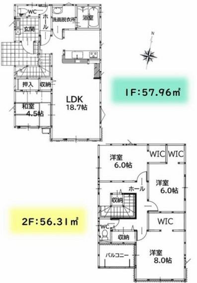 4LDKです。2階全居室にWICがあります。