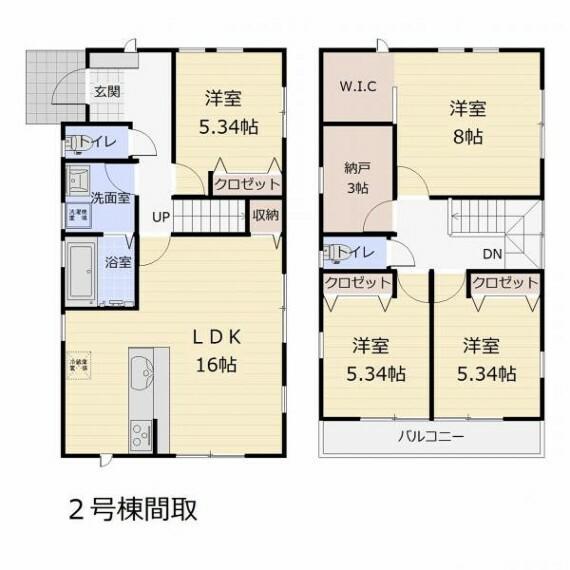 (2号棟)納戸+WIC付きでお部屋がすっきり