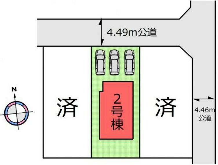 (区画図)駐車並列3台分有り!車やバイク好きの方にもおすすめです!