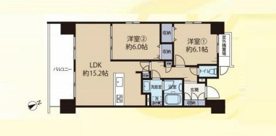間取り図 9階部分 南西角部屋の2LDK 2021年6月リフォーム済み