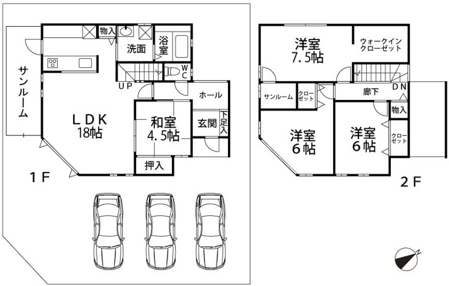間取り図 1階:LDK18/和4.5/洗面/浴室/トイレ/SR 2階:洋7.5/WIC/SR/洋6/洋6