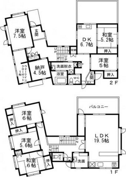 間取り図 間取りは3LDK+2LDKです。玄関及びトイレも2か所と2世帯住宅・大家族向けの戸建てです