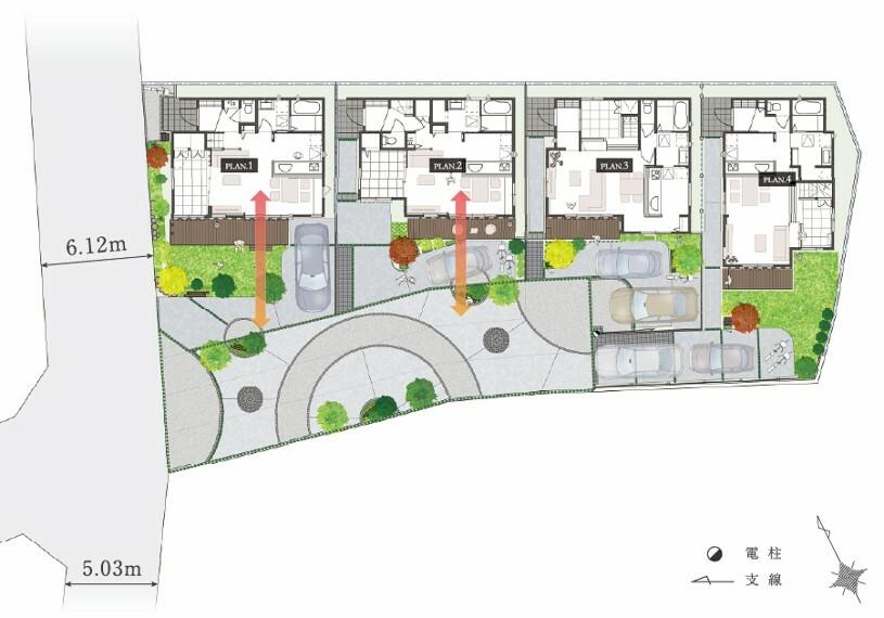 区画図 【緑道で綴る4邸の街並み】  4邸の協定道路を活用し緑道のある街並みを創造しました。単なる車道ではなく、美しい景観を創るために緑とベンチを設え、住まい手の憩いの場所となる公園のようなスペースが日常を彩ります。
