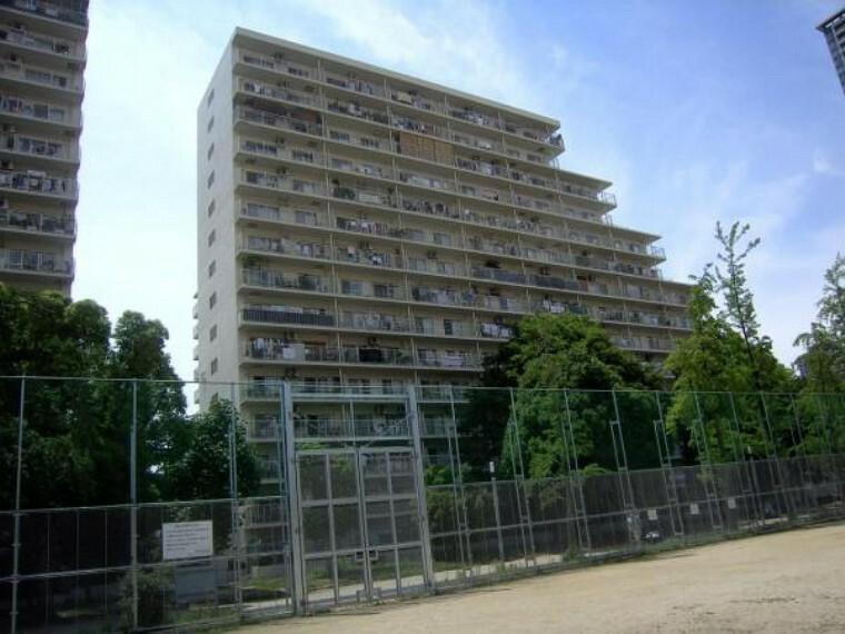 現況写真 マンション隣接の下福島公園よりみたマンション外観。