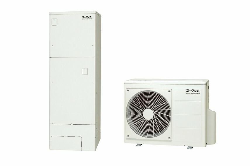 発電・温水設備 エコキュート 1.たっぷり370リットルの貯湯タンクで断水時も安心。 2.空気中の熱も利用してお湯を沸かすエコな給湯器。 ※画像は参考イメージ。メーカー、仕様により形状等が異なります。