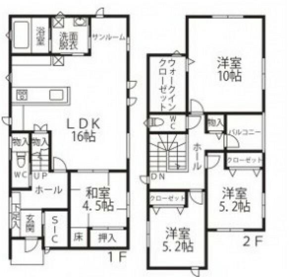 間取り図 1階:LDK16帖/和室4.5帖/洗面所/浴室/トイレ 2階:洋室10帖/洋室5.2帖×2/バルコニー/トイレ/WIC