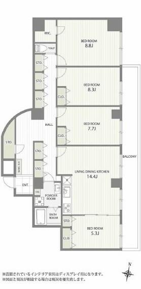 間取り図 LDK約14.4帖/寝室約8.8帖/洋室約8.3帖/洋室約7.7帖/洋室約5.3帖