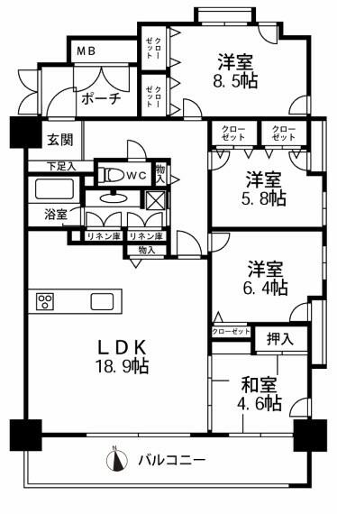 間取り図 間取りです、金沢市内のマンションでは数少ない4LDKのマンションです
