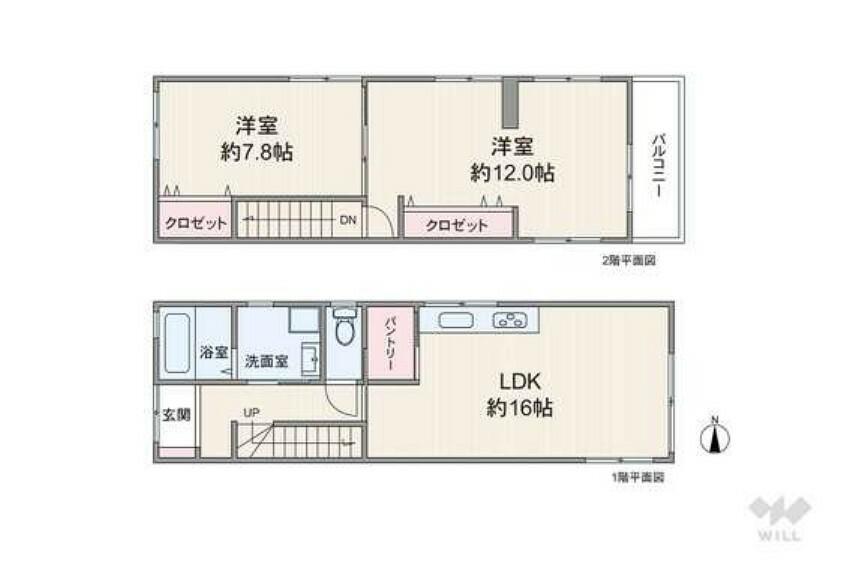 間取り図 階段下収納や、キッチン横のパントリー、床下収納庫、階段のニッチ等、収納量豊富なプランとなっております。