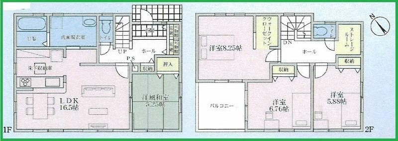 間取り図 敷地面積:179.14平米(54.18坪) 建築面積:105.99平米(約32.06坪) 全室南向きのご住宅です!