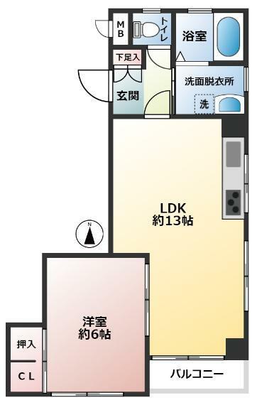 間取り図 ・41平米超のゆとりある1LDK ・南向き 陽当たり良好 ・南東角部屋 通風良好 ・水回りに窓があります。